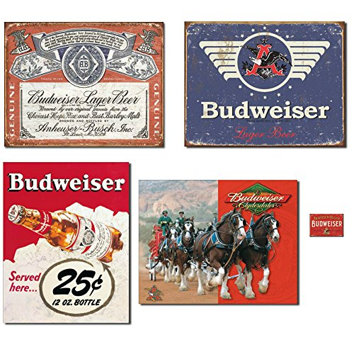 (Bundle: Vintage Tin Budweiser Signs - Budweiser Historic Label, Budweiser 1936 Logo, Budweiser 25 Cent and Budweiser Clydesdales. Plus Budweiser Weathered)