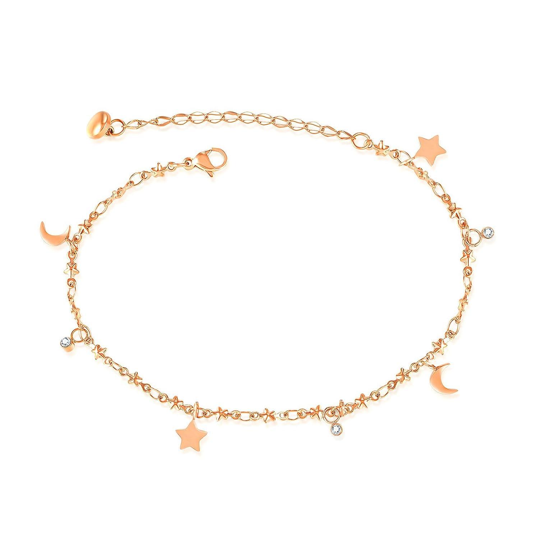 AnaZoz Bracelet de Cheville Delicat Femme Étoile Lune en Acier Inoxydable Plaqué Or/Argent Chaîne:19+5CM -Thump star Motion