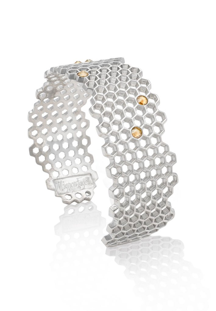 Mignon Faget HIVE Narrow Jeweled Sterling Silver Cuff with Honey Crystal
