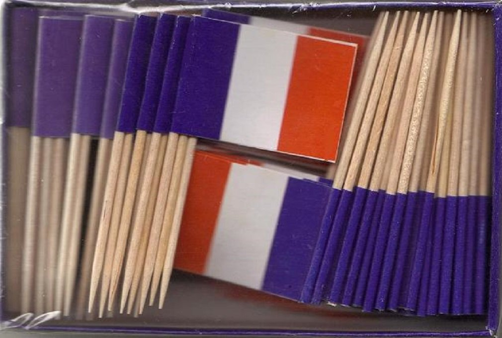 25 Box Wholesale Lot of France Toothpick Flags, 2500 Small Mini French Flag Cupcake Toothpicks or Tiny Cocktail Picks
