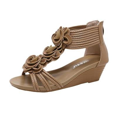 b1b50eb7e89a2a Solike Sandale Femme Été Bohême Chaussure Femme Sandales Talon Compensé  avec Fleurs Mode Ouvert Bout Peep