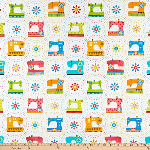 Kanvas Sew Excited, Sewing Machine Fun White Fabric by the Yard ()