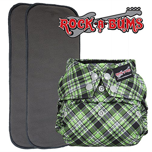 Rock-a-Bums 5-in-1 One-Size Cloth Diaper Pack with Snaps, Punk Plaid ()