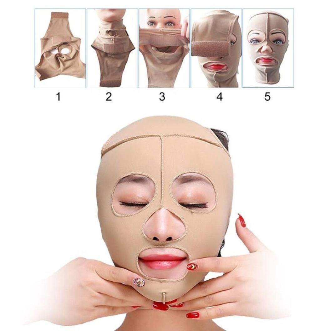 TAOtTAO Health Care Face Massage Full Face Lift Mask Slimming Facial Massage Bandage (L)