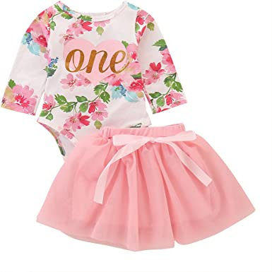 Kids One Year Party Cake Tutu Skirt Clothes Set Baby Girls 1st Birthday Outfit