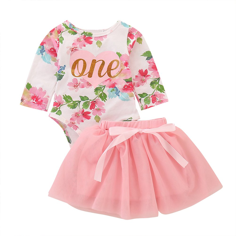 Baby Girl Tutu Dress 1st Birthday Outfit Sleeveless Floral Romper Skirt 2Pcs Set
