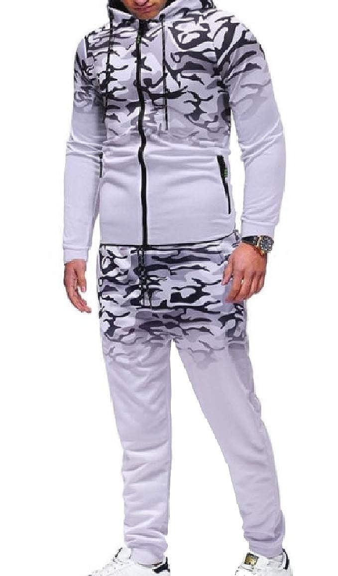 QUHS Mens Zip-Front Leisure Floral Hood Ombre Camo Tracksuit Set