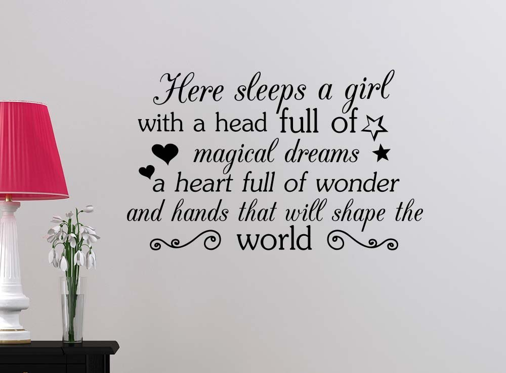 1805084808 We Analyzed 1 Reviews For Wall Decal Here sleeps a girl with a head ...