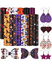 Searching Roads 12 Pcs Halloween Faux Leather Sheet,8.5 x 6.5 Inch Pumpkin Spider Bat Halloween Fabric Printed Synthetic for DIY Earrings Bows Jewelry Halloween Craft Festival Decor