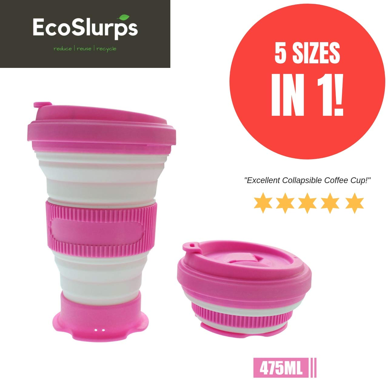 EcoSlurps Black Reusable Collapsible Coffee Cup - 5 Sizes in 1 Folding Travel Mug Makes for Great Coffee Gift. Eco Friendly, Lightweight, Leak Proof & Dishwasher Safe