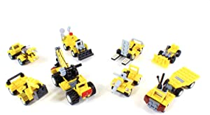 Brick Building Blocks Construction Vehicles 8-Pack - Construction Party Favors for Boys & Girls - Construction Birthday Party Supplies Goodie Bag Toys - Mini Bricks - Building Toys