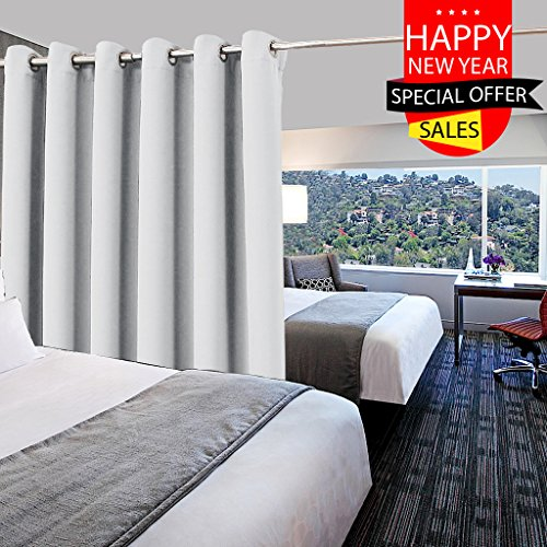 10' High Wall (Multi-functional Privacy Room Divider Curtain - Room Darkening Eyelet Top Room Divider Curtain Panel for Living Room / Bedroom by PONY DANCE, Greyish White, 10ft Wide x 8ft Long, 1 Panel)