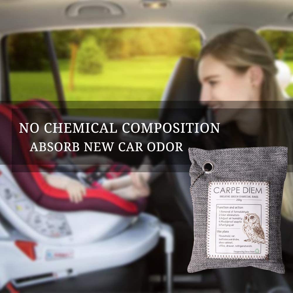 6 Pack Car//Shoe//Pet Odor Eliminator Carpe Diem Bamboo Charcoal Air Purifying Bag 4-Large 2-Standard Breathe Green Charcoal Bags Prime Package Nature Activated Charcoal Odor Eliminators for Home