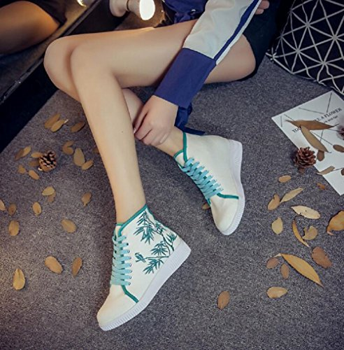Embroidery Lady Green Women Vintage Sneaker Casual Ankle Lazutom Shoes High xvSU4tt