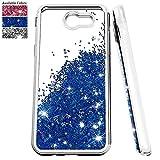 Samsung Galaxy J3 Emerge Glitter Case,J3 Eclipse/J3 Prime/J3 Luna Pro/J3 Mission/Amp Prime 2/Express Prime 2/Sol 2 Case w/ Screen Protector,NiuBox Liquid Clear TPU Slim Fit Case for J3 2017 (Blue)