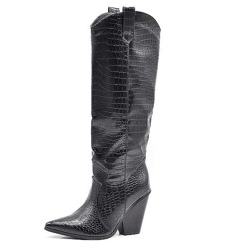 IF Fashion Stivali Stivaletti Camperos Texani Alti Da Donna A Punta Tacco Coccodrillo 2849