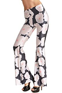 faa4f8cf52f676 Pink Queen Women's Digital Printed Flared Bell Bottom 70's Party Pants