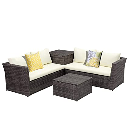 Gentil Wisteria Lane Patio Sectional Furniture Set, 4 Piece Outdoor Conversation  Set All Weather Wicker