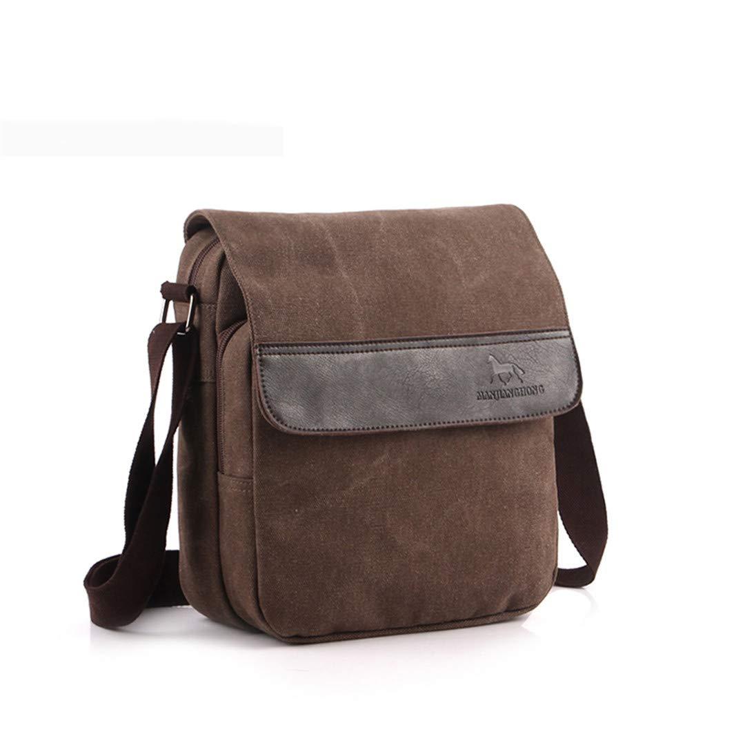 Vintage Men Messenger Bags Canvas Crossbody Bags Patchwork Leather Casual Retro Shoulder Sling Bag Khaki W25H30D11CM