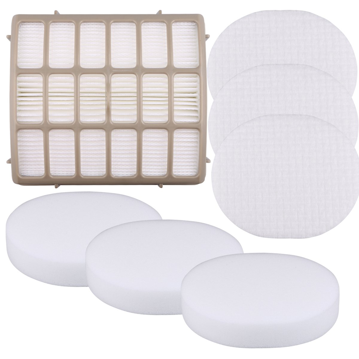 Aunifun 3 Foam Filters + 1 HEPA Replacement Vacuum Filter for Shark Navigator Professional NV70, NV80, NVC80C, UV420 Shark Rotator Professional XL Capacity NV90 Replacement Parts XFF80 XHF80