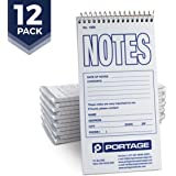 "Portage Notes Narrow Ruled Notebook - Gregg Ruled 4"" x 8"" Professional Pocket Spiral Notebook - 140 Pages (12 Pack)"