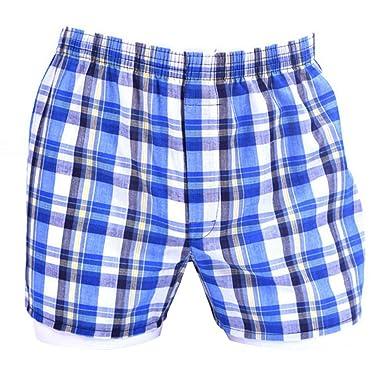 Dihope Homme Bas de Pyjama Short à Carreux Bermudas Confortable Vêtements  de Nuit Taille Élastique Salon b8a5239b579