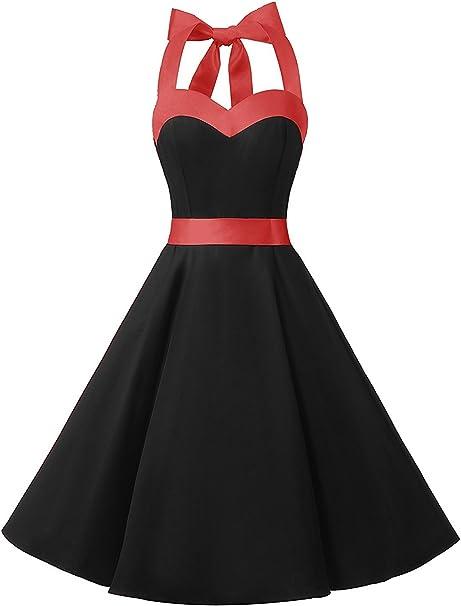 TALLA M. Dresstells® Halter 50s Rockabilly Polka Dots Audrey Dress Retro Cocktail Dress Black Blue Dot M