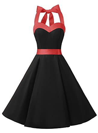 a31e51c73c9 DRESSTELLS 50s Retro Halter Rockabilly Bridesmaid Audrey Dress Cocktail  Dress Black XS