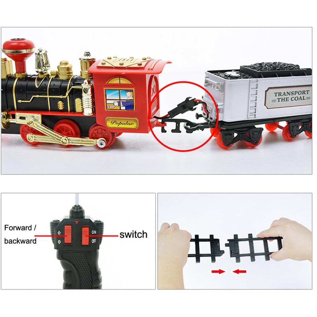 Internet Juguetes educativos Vehículo de Transporte de Control Remoto Humo de Vapor eléctrico RC Tren Conjunto Modelo Juguete Regalo (como se Muestra, ...