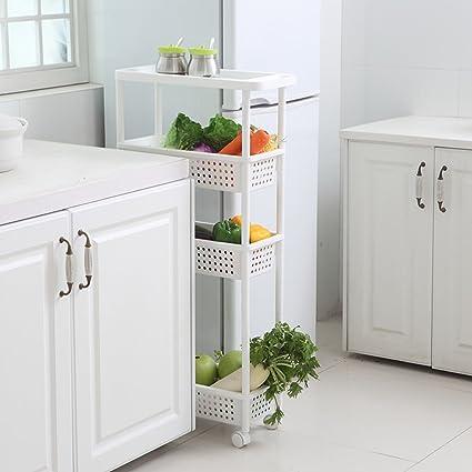Shuang Cuarto de baño Estante de baño Estrecho Cocina Almacenamiento Rack Trolley Sala de Estar Refrigerador