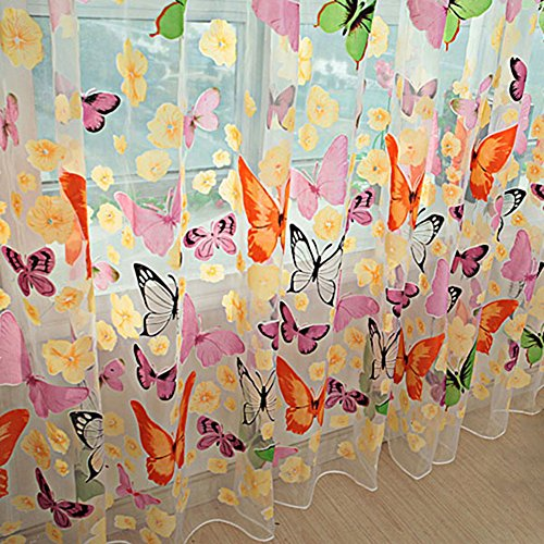 Norbi Colorful Butterfly Sheer Curtains Rod Pocket Room Window Curtain Sheer Voile Panel Drapes Curtain Drape Panel Sheer Scarf Valances, 39 X 78 - Antique Panel Butterfly