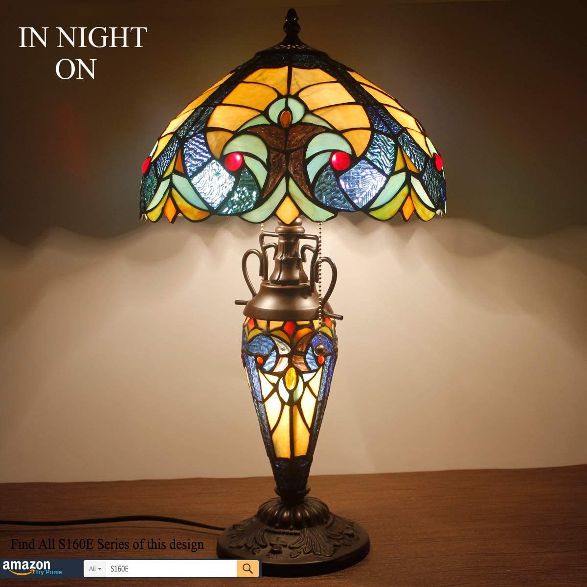 Tiffany Styled Lamp 3 Light W12 H22 Inch Yellow Liaison Stained Glass Table Lamp Night Light Base for Living Room Bedroom Coffee Table Reading Desk Beside S160E WERFACTORY