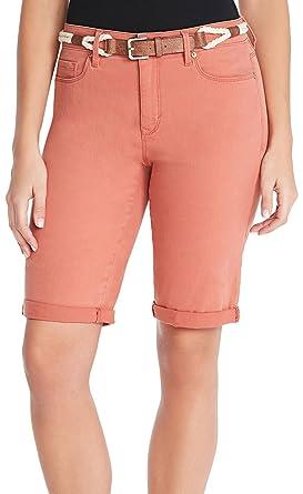 8efc569ad1 Gloria Vanderbilt Women's Joslyn Belted Bermuda Jean Shorts (Summer Clay,  ...
