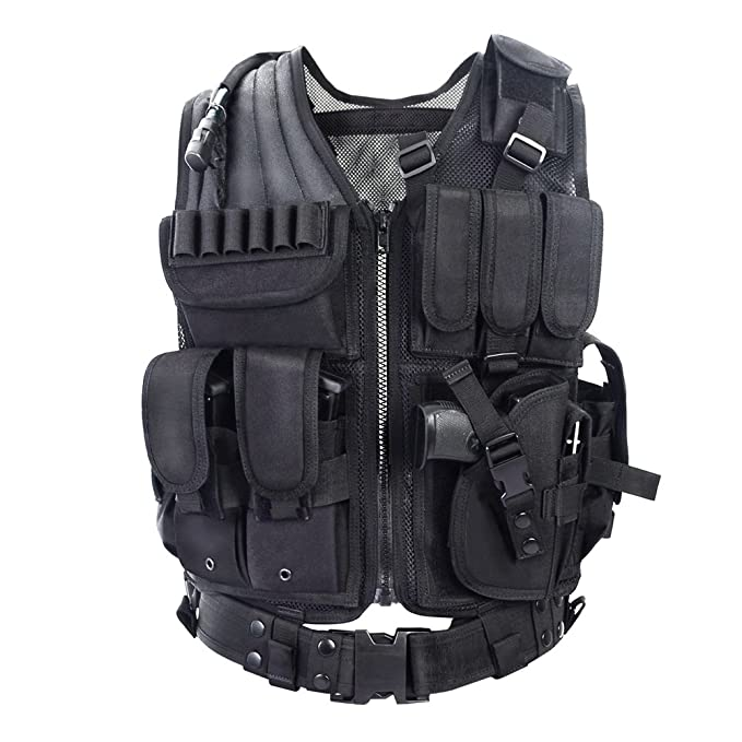 Tactical CS Field Vest Outdoor Ultra-Light Breathable Combat Training Vest Adjustable for Adults 600D Encryption Polyester-VT-1063