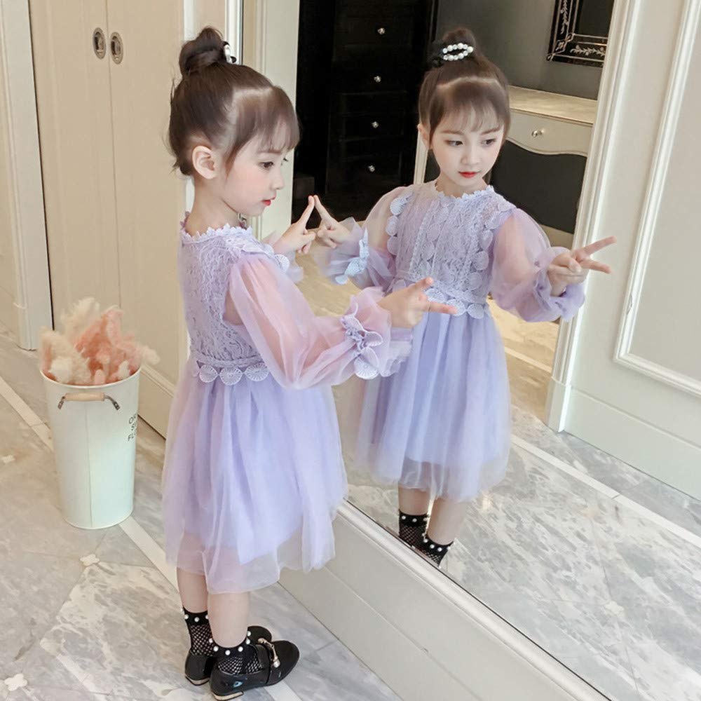 Baby Girls Dresses Clothes Lace Long Lantern Sleeve Princess Party Dress Outfit 2-6T