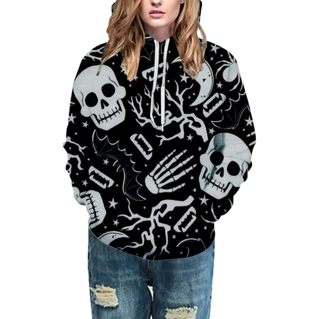Qvwanle Fashion Women Halloween Skull 3D Print Party Long Sleeve Loose Pullover Hooded Sweatshirt (S, Black)