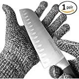 TYH Supplies Cut Resistant Safety Gloves High Performance Level 5 Protection EN388 Food Grade, Cutting and slicing Hand protection Kitchen Glove, Strong Grip Silicone Grip Dots, Capacitive Touch Finger Tips, 1 pair