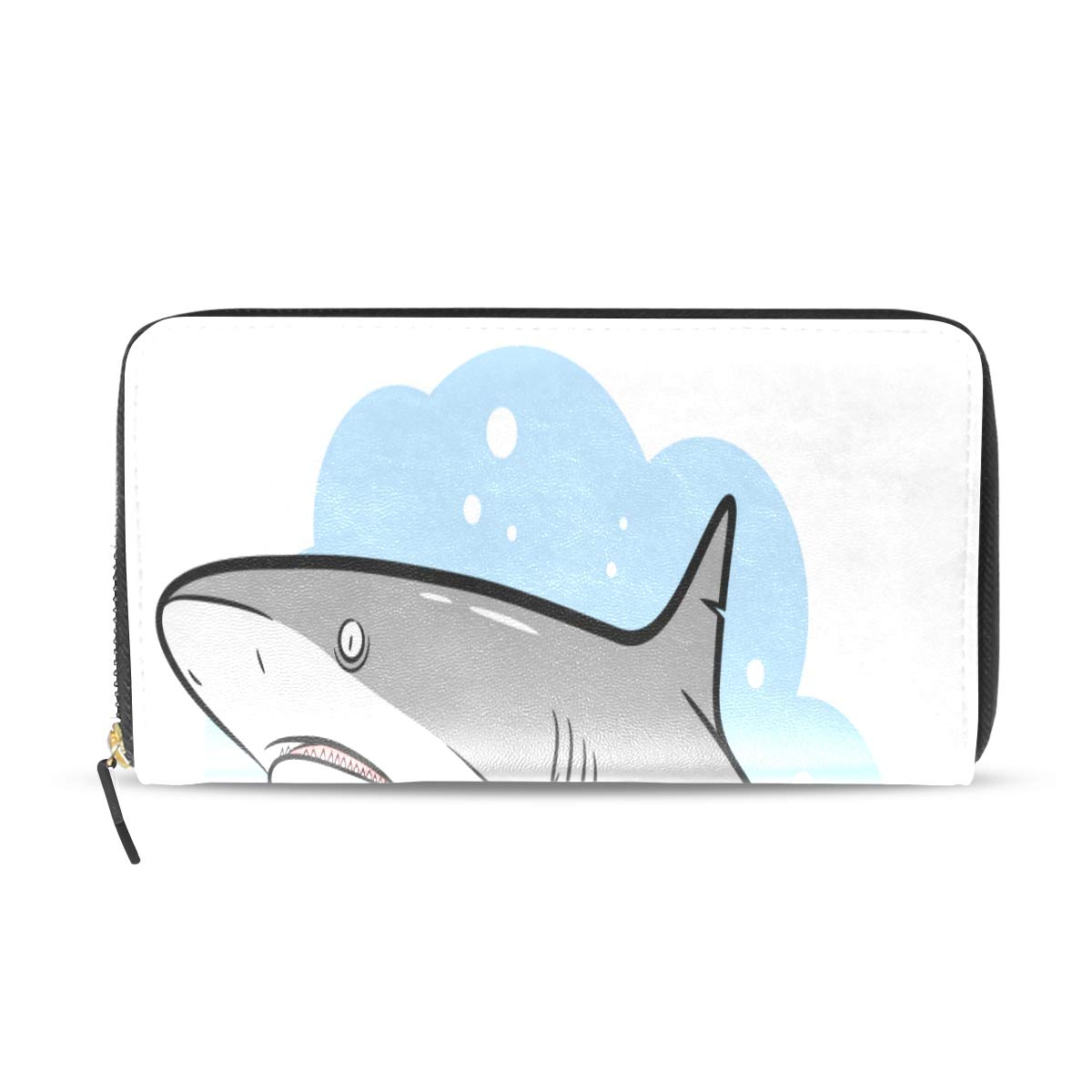 Evil Shark Sea Ocean Underwater Animal Long Passport Clutch Purses Zipper Wallet Case Handbag Money Organizer Bag Credit Card Holder For Lady Women Girl Men Travel Gift