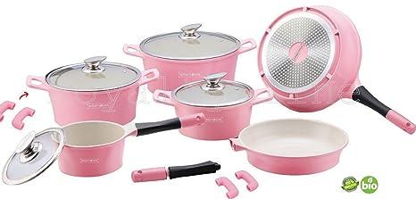 Royalty Line – Olla de 14 Piezas cerámica/Inducción/Olla/sartén/Tapa de Cristal Cocina en Color Rosa
