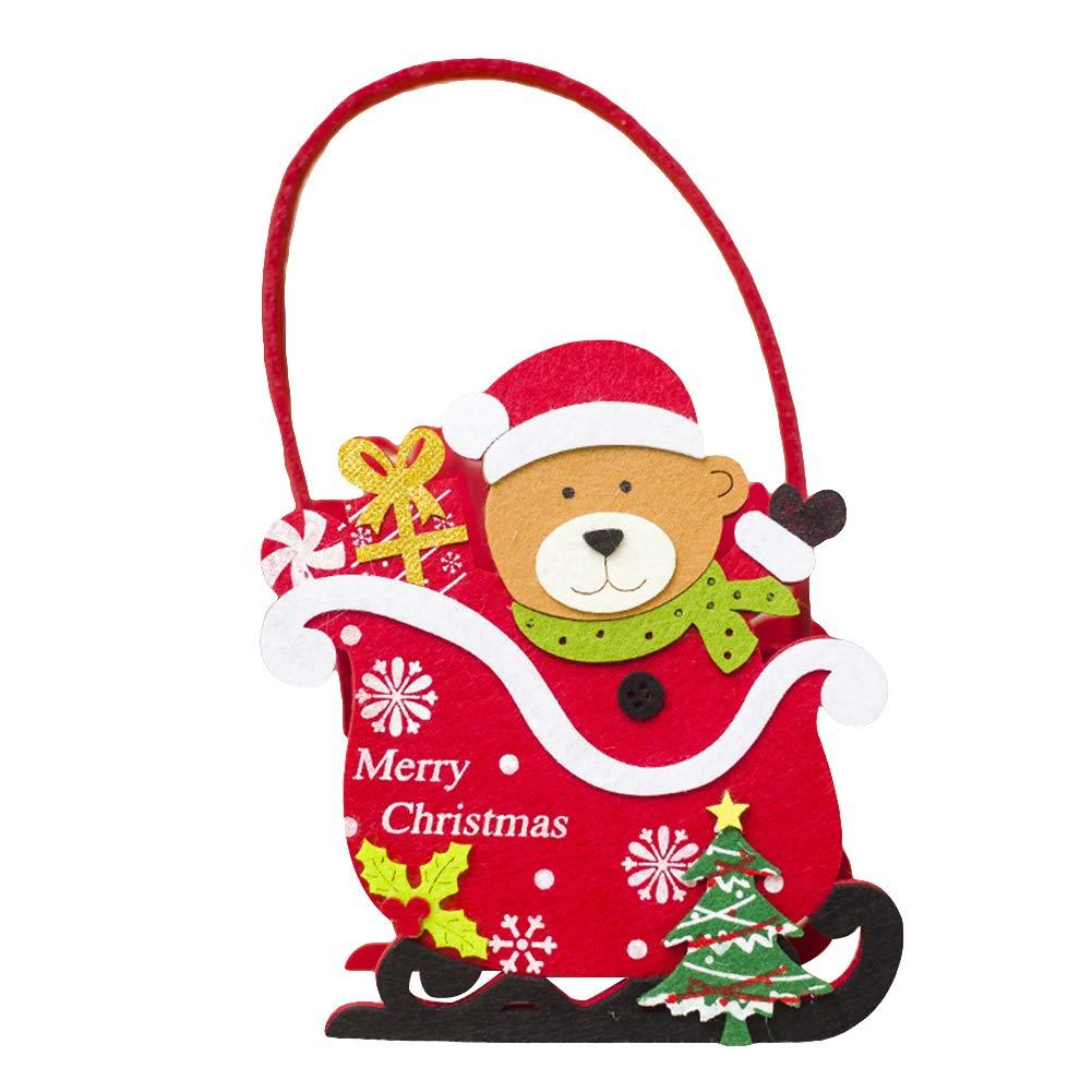 AkoMatial Felt Cute Christmas Santa Claus Snowman Deer Bear Candy Basket Bag Container Ornament Gift for Kids Bear