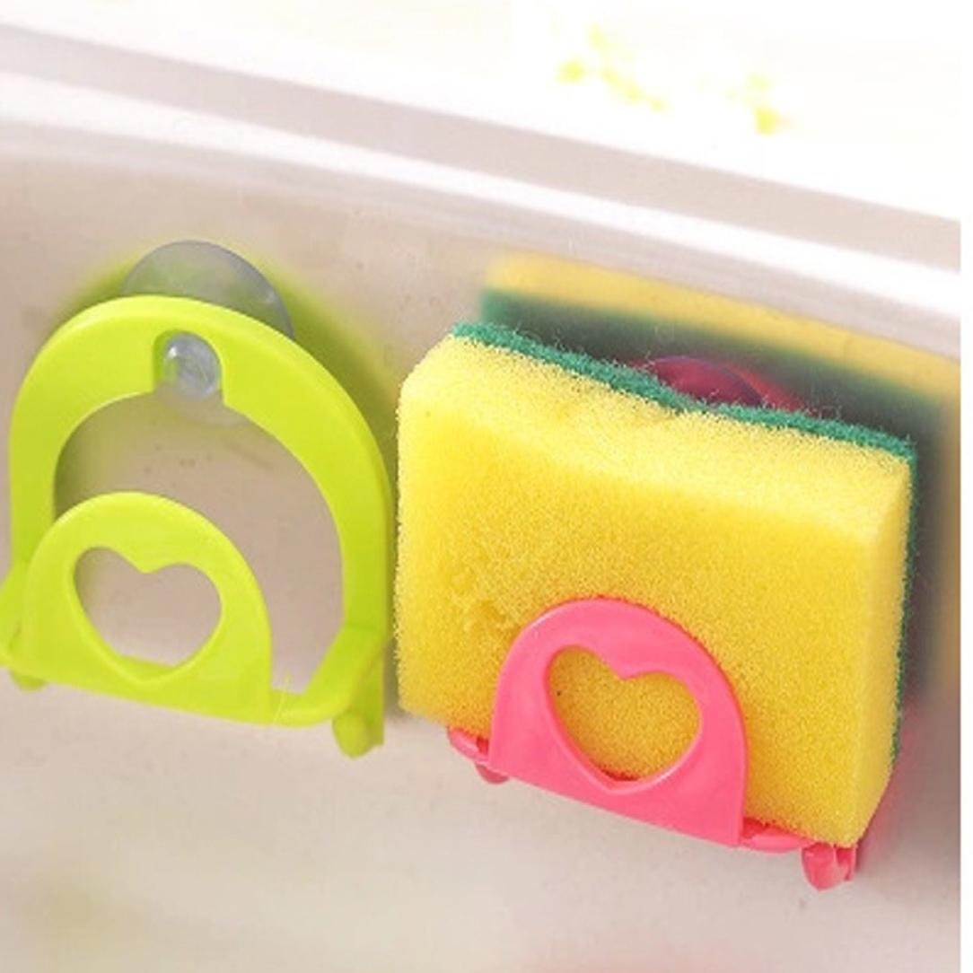 LiPing Cute Desktop Dishcloth Rack Dish Cloths Rack Suction Sponge Holder Clip Rag Storage For Kitchen Supplies Cleaning Utensils (A)
