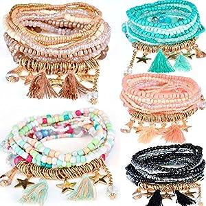 yunanwa 5 PACK Multilayer Bohemian Beaded Bangle Bracelet Crystal Charm Stretch Beach 7 PCS Set Boho Jewelry