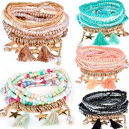 yunanwa 5 Pack (45pcs) Multilayer Bohemian Beaded Bangle Bracelet Crystal Charm Stretch Beach 9 PCS Set/Pack Boho Jewelry for Women Men Link Wrist Chain