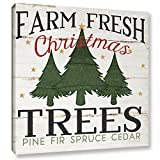 Jennifer Pugh ''Farm Fresh Christmas Trees'' Gallery Wrapped Floater-framed Canvas, 36X36