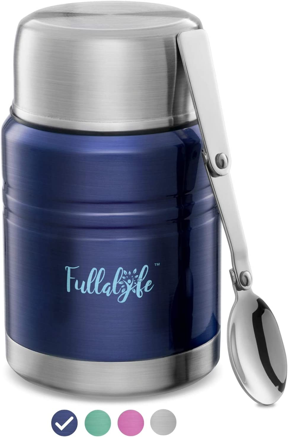 Fullalyfe Thermos Food Jar, 17 oz Stainless Steel Double Wall Vacuum Insulated Hot Food Container with Spoon and Wide Mouth, Soup Thermos for Kids and Adults, BPA Free - Stylish Design (Royal Blue)