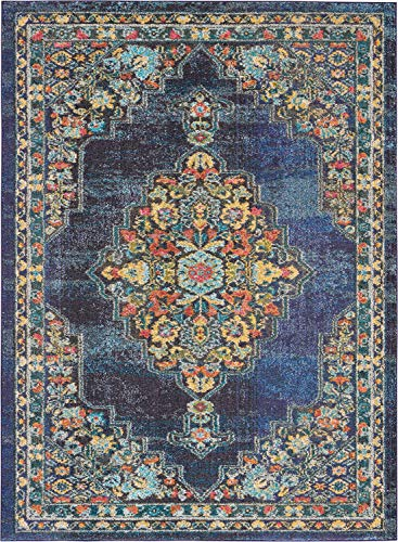 Kashan Navy Area Rug - Nourison PST01 Passionate Persian Traditional Navy Area Rug 5'3