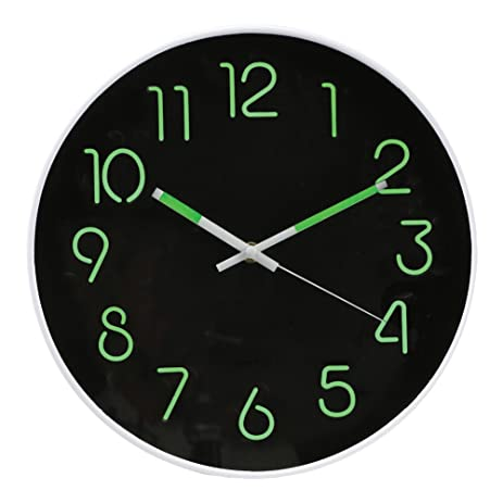 Amazoncom Glow In The Dark Wall Clock Analog 12 Diameter