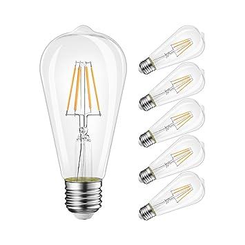 LVWIT Bombillas de Filamento LED ST64 E27 (Casquillo Gordo) - 6W equivalente a 60W