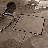 shower tile designs 6 Inch Square Shower Floor Drain for Bathroom and Kitchen, Tile-in Design Floor Shower Drain Made of 304 Rustproof Stainless Steel with Brushed Finish, Kit Includes Hair Strainer and Key