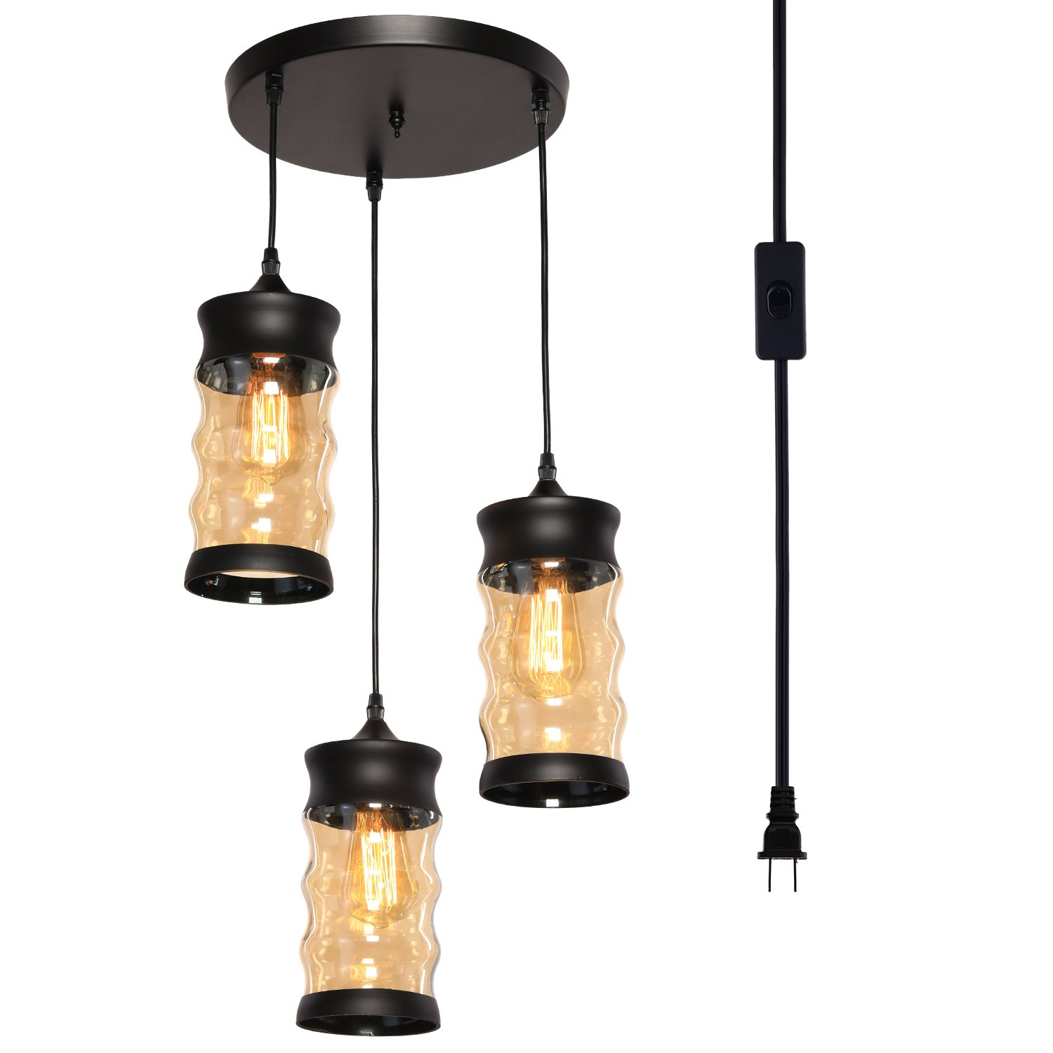 HMVPL 3-Lights Vintage Glass Jar Chandelier Pendant Light with 16.4 Ft Plug-in Cord and On/Off Toggle Switch, Industrial Hanging Lamps for Kitchen Island Table Dining Room Bedroom Foyer Porch Hallway